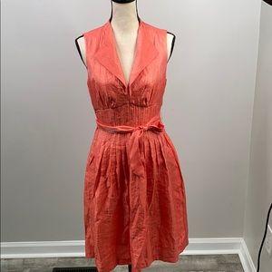 Maggy L orange sleeveless deep v neck dress